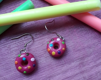 Earrings donuts fimo / polymer clay donuts pink bo
