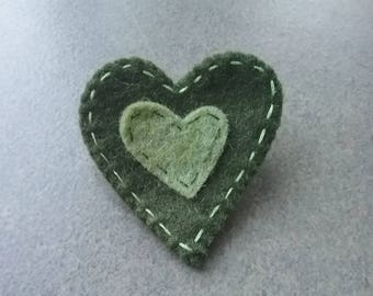 """Coconut"" Collection heart felt brooch"
