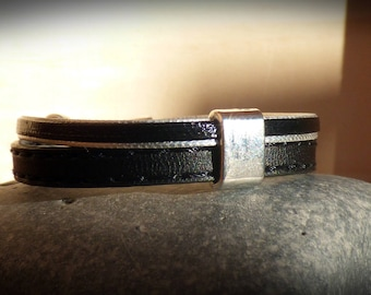 "Cuff 10 mm cord strap split ""effect stitching"" black leather - black and silver - silver loop - boy/girl/woman"