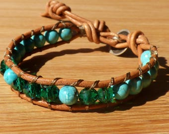 Bracelet turquoise beads and pearls of Bohemia - for girl or woman small wrist