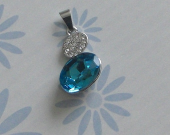 Turquoise Rhinestone Charm pendant