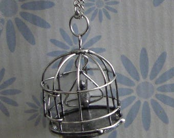 Silver bird cage chain necklace