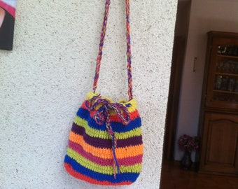 Small crocheted multicolored shoulder bag