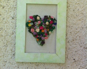 Heart made of silk ribbon embroidery