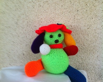 Multicolored dog crocheted bright colors