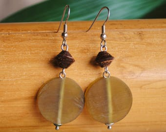 Nature earrings green and Brown