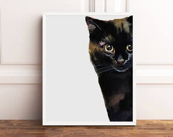 Brown Black Cat Print White Watercolor Animal Modern Home Wall Decor Printable Poster Watercolour Artwork Contemporary