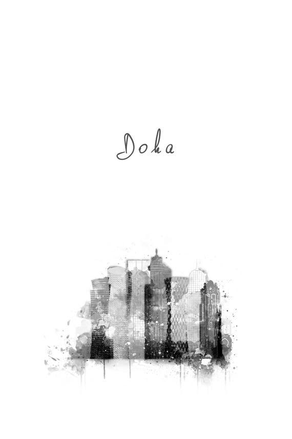 Doha Qatar Print Skyline City Icons Printable Cityscape Silhouette Modern Watercolor Art Poster Monochrome Artwork Black White Grey Decor