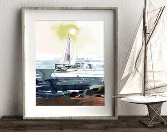 Nautical Art, Sail Boat Art, Sailing Print, Ocean Art, Sea Print, Nursery Art, Sunset Print, Wall Art, Home Decor, Printable Instant Art