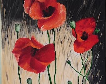 Original Oil painting on canvas Modern art Contemporary art Poppies
