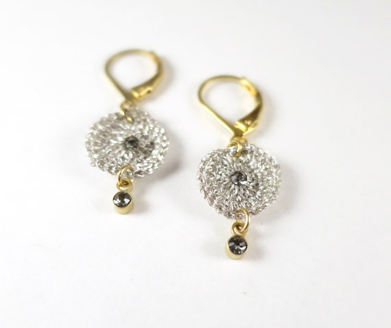 Silver and crystal crochet earrings in silver and crystal