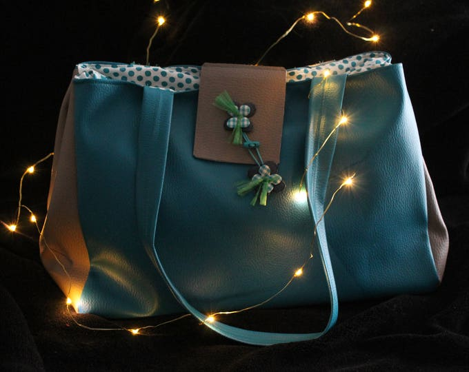 """Bodie"" faux turquoise leather bag"