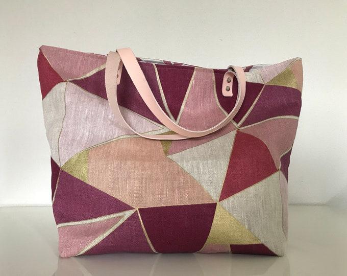 Pink and purple linen bag SAUSALITO