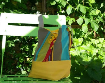 BETTY bag in bayadère canvas and faux yellow leather