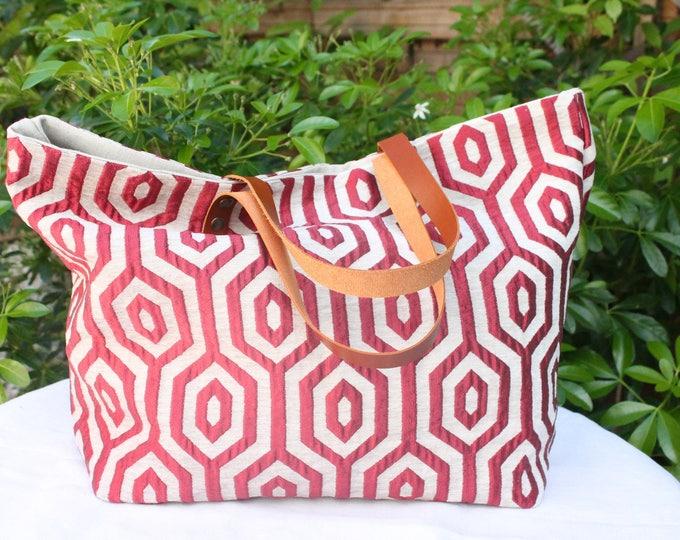"""Tote bag """"Sausalito"""" burgundy and ecru"""