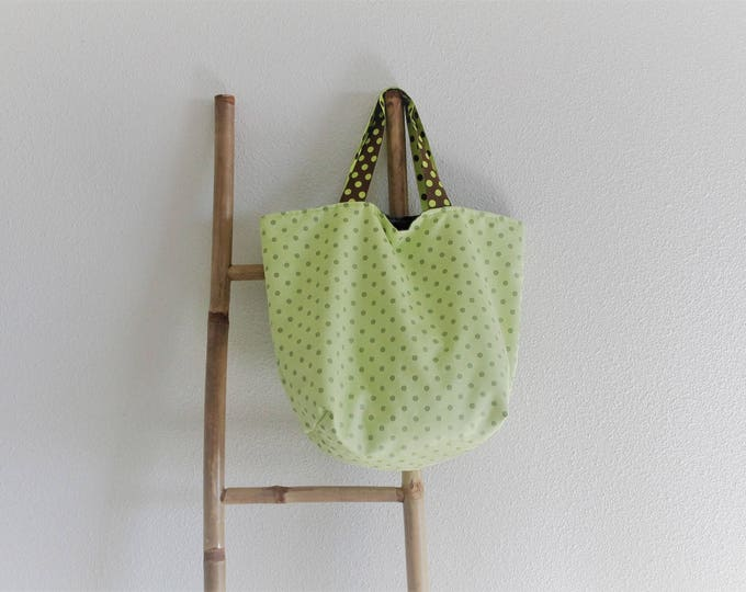 "Tote bag ""Sausalito"" green anise with white dots"