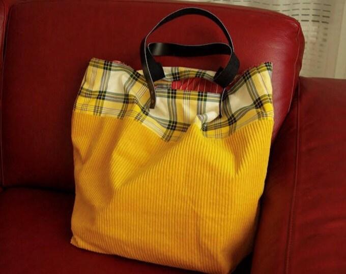 "Tote bag ""Sausalito""  in saffron yellow velvet"