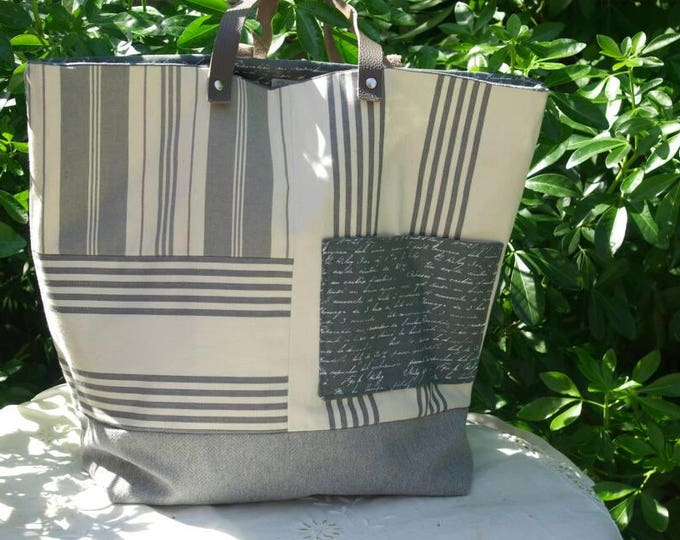 "Tote bag ""Sausalito"" in striped canvas gray and ecru"