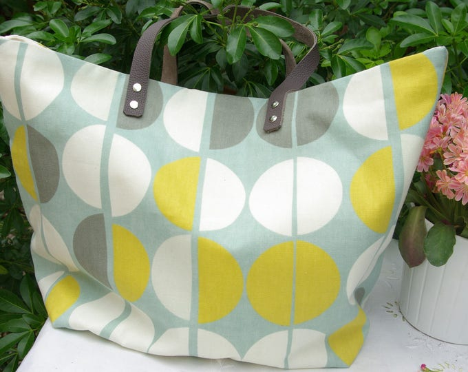 Large SAUSALITO bag in canvas with coordinated fabrics