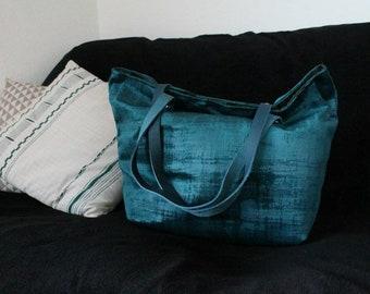 SAUSALITO turquoise blue velvet bag