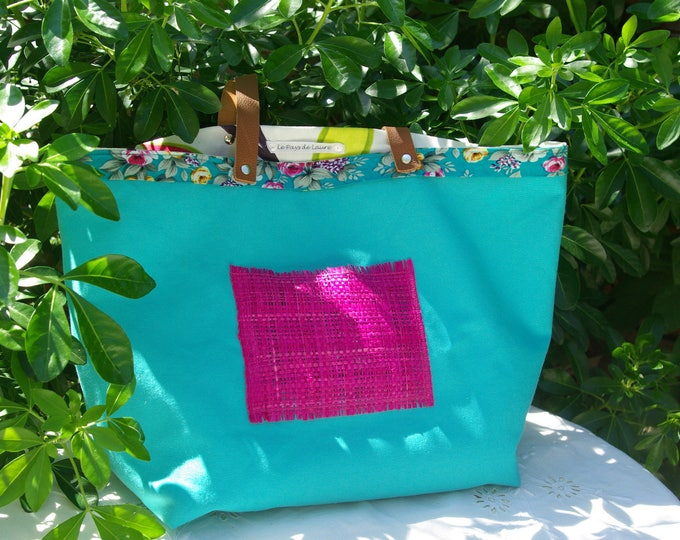 "Tote bag ""Sausalito"" in canvas blue turquoise"