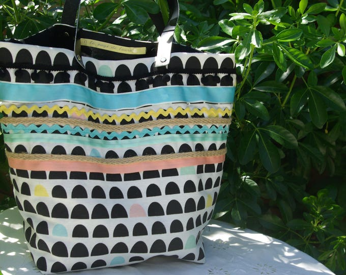 "Tote bag ""Sausalito"" colorful canvas and ribbons"