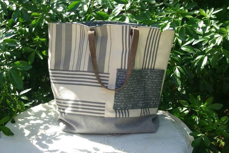 Tote bag Sausalito in striped canvas gray and ecru