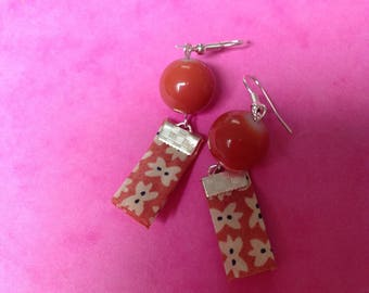 liberty fabric coral and coral round bead earrings