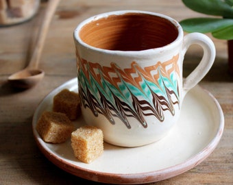 Coffee and craft saucer - ceramic Horezu