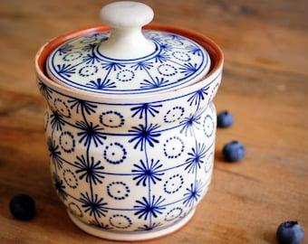 En bois Sucre Pot Sucrier avec Cuillère Sel Gardien vintage sculpté