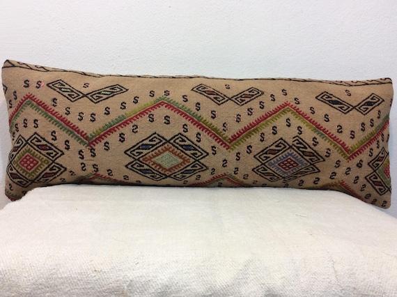 lumbar kilim pillow  decorative kilim pillow  kelim cushion  boho decor pillow  organic kilim pillow  14x36 pillow cover  code 18
