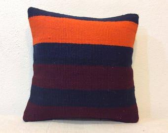 14 x 14 pillow cover orange dark brown and dark red striped kilim pillow cover 35x35 cm Kelim cushion cover
