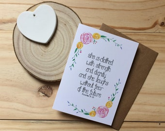 She Is Clothed In Strength And Dignity Card - Proverbs 31:25 Card - Christian Card - Christian Gift - Gifts For Her - Bible Verse