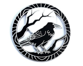 Encircled Raven Pin