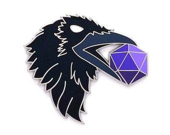 D20 Pin - Raven Pin - Sacred Geometry Raven - Hard Enamel