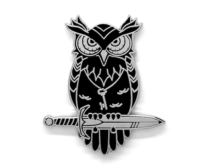 Black Owl Hard Enamel Pin