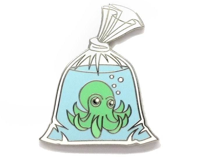 Octopus Pin, Octopus in a Bag Pin, Goldfish in a Bag Pin,  Seconds Sale,  Enamel Pin, Tentacle Monster Pin, Anime Pin, Fish in a bag Pin