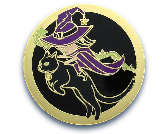 Witch Riding Cat - Halloween Pin - Cat Pin - Enamel Pin Anime - Funny Pin