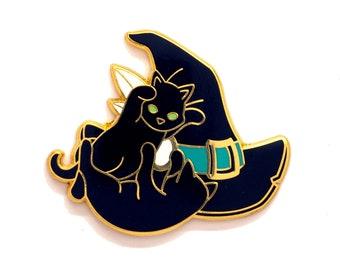 Cat Witch Pin - Hard Enamel
