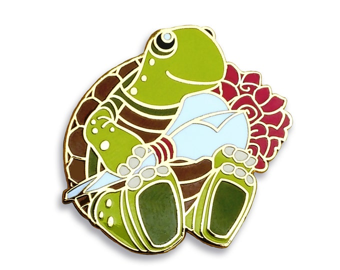 Turtle Pin Hard Enamel Holding Roses Turtle Gifts