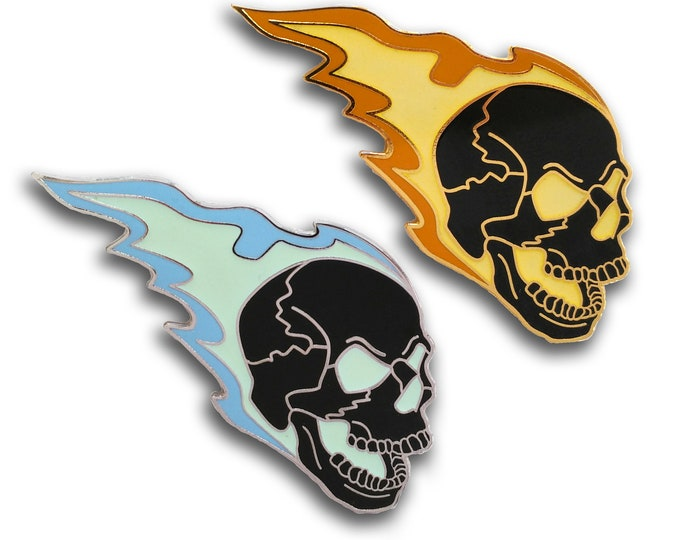 Flaming Skull Hard Enamel Pin Glow in the Dark GitD Halloween Biker Motorcycle Punk Rock Goth Laughing Glowing Rebel