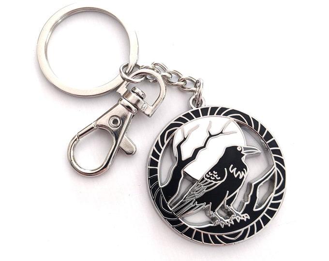 Encircled Raven Keychain