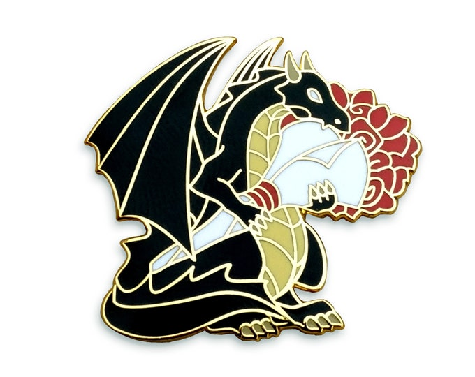 Black Dragon Enamel Pin - Dragon Holding Flowers, Hard Enamel Pin