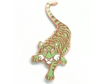 Green Tiger Enamel Pin in Rose Gold Finish, Minty Tiger Pin