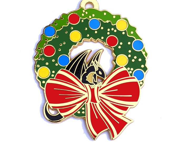 Christmas Wreath Dragon Pin - Jumbo Hard Enamel
