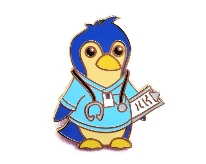 Enamel Pin - Doctor Nurse Penguin in Cute Scrubs with Stethoscope