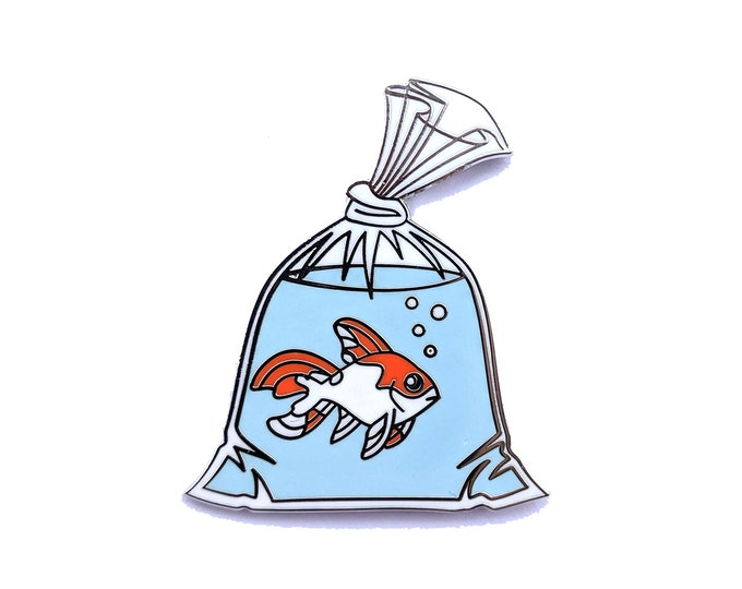 Goldfish Pin, Gold Fish Pin, Goldfish in a Bag Pin,  Hard Enamel Pin, Anime Pin, Fish in a bag Pin