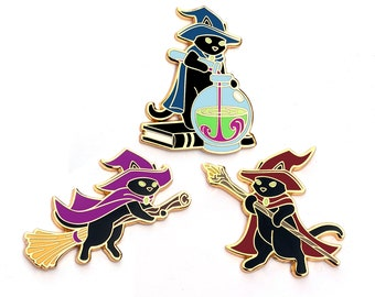 Cat Witch Pin - Hard Enamel