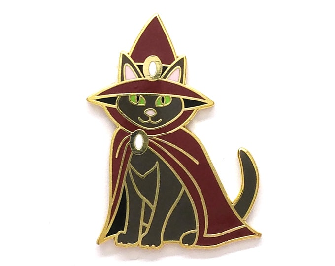 Cat Witch Pin - Halloween Pin - Cat Pin - Enamel Pin - Black,  Gray, and Cream