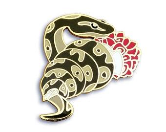 Snake Pin, Python Pin, Flower Pin, Enamel Pin, Valentines Pin, Valentine's Pin, Cute Pin, Anniversary Pin, Ball Python Gift, Rose Pin